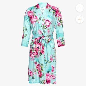 Pretty maternity aqua floral robe